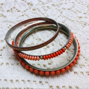 Jewelry - Set of 3 silver bangles with orange